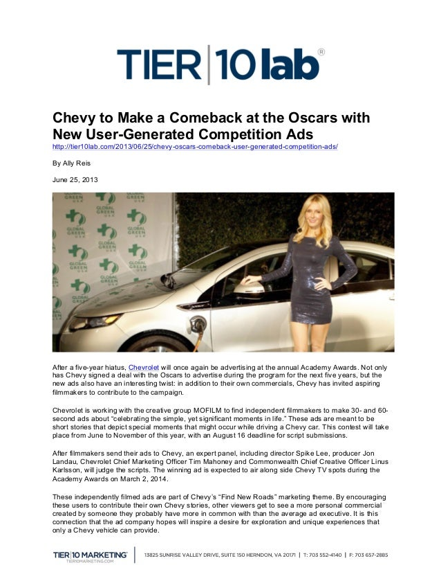 Chevy to Make a Comeback at the Oscars with New User-Generated Competition Ads http://tier10lab.com/2013/06/25/chevy-osc...