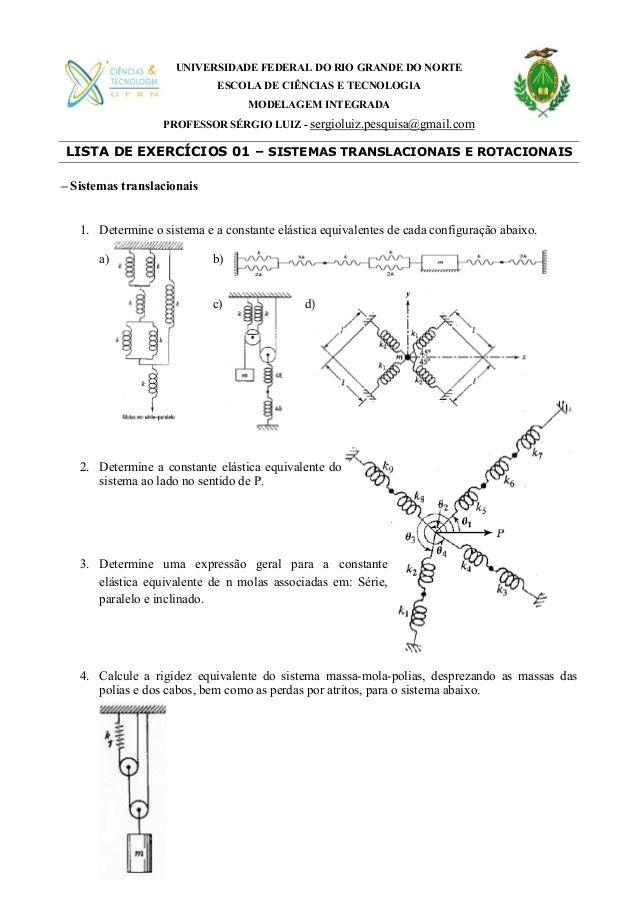 UNIVERSIDADE FEDERAL DO RIO GRANDE DO NORTE ESCOLA DE CIÊNCIAS E TECNOLOGIA MODELAGEM INTEGRADA PROFESSOR SÉRGIO LUIZ - se...