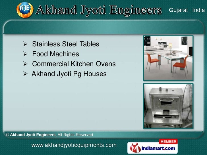    Stainless Steel Tables   Food Machines   Commercial Kitchen Ovens   Akhand Jyoti Pg Houses