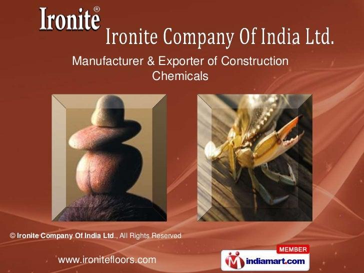 Manufacturer & Exporter of Construction <br />Chemicals<br />