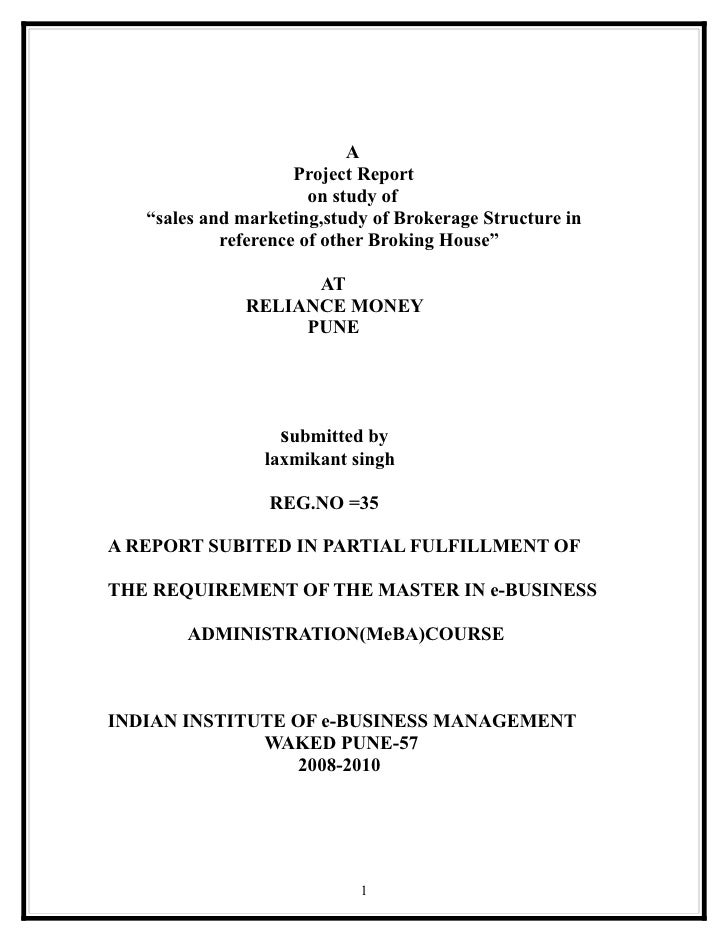 """A                     Project Report                       on study of   """"sales and marketing,study of Brokerage Structure..."""