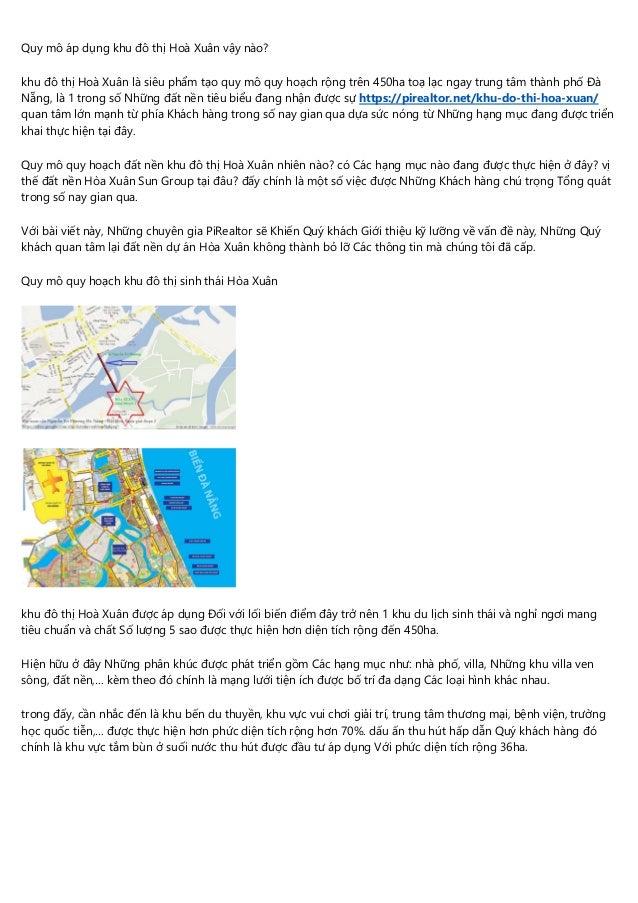 Quy mô áp dụng khu đô thị Hoà Xuân vậy nào? khu đô thị Hoà Xuân là siêu phẩm tạo quy mô quy hoạch rộng trên 450ha toạ lạc ...