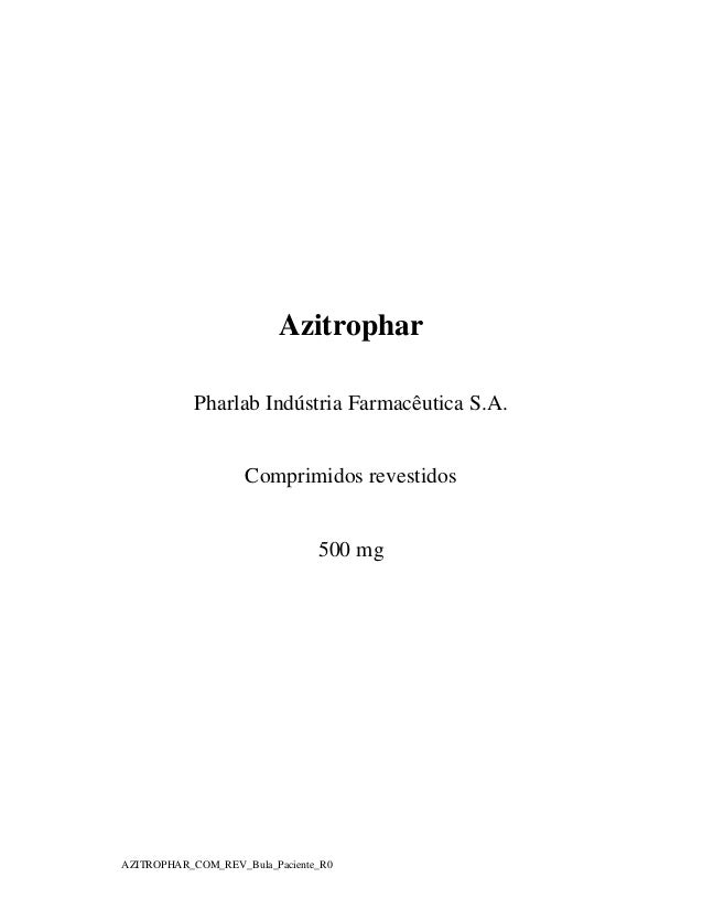 Azitrophar Pharlab Indústria Farmacêutica S.A.  Comprimidos revestidos  500 mg  AZITROPHAR_COM_REV_Bula_Paciente_R0