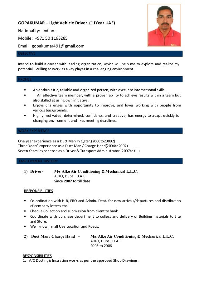 Sample Resume Light Vehicle Driver Cv Cdl Driver Resume