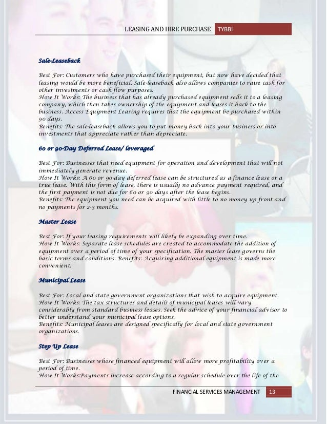 LeasingAndHirePurchase Contract In Banking Sector