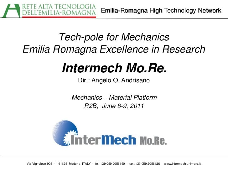 Emilia-Romagna High Technology Network        Tech-pole for MechanicsEmilia Romagna Excellence in Research                ...