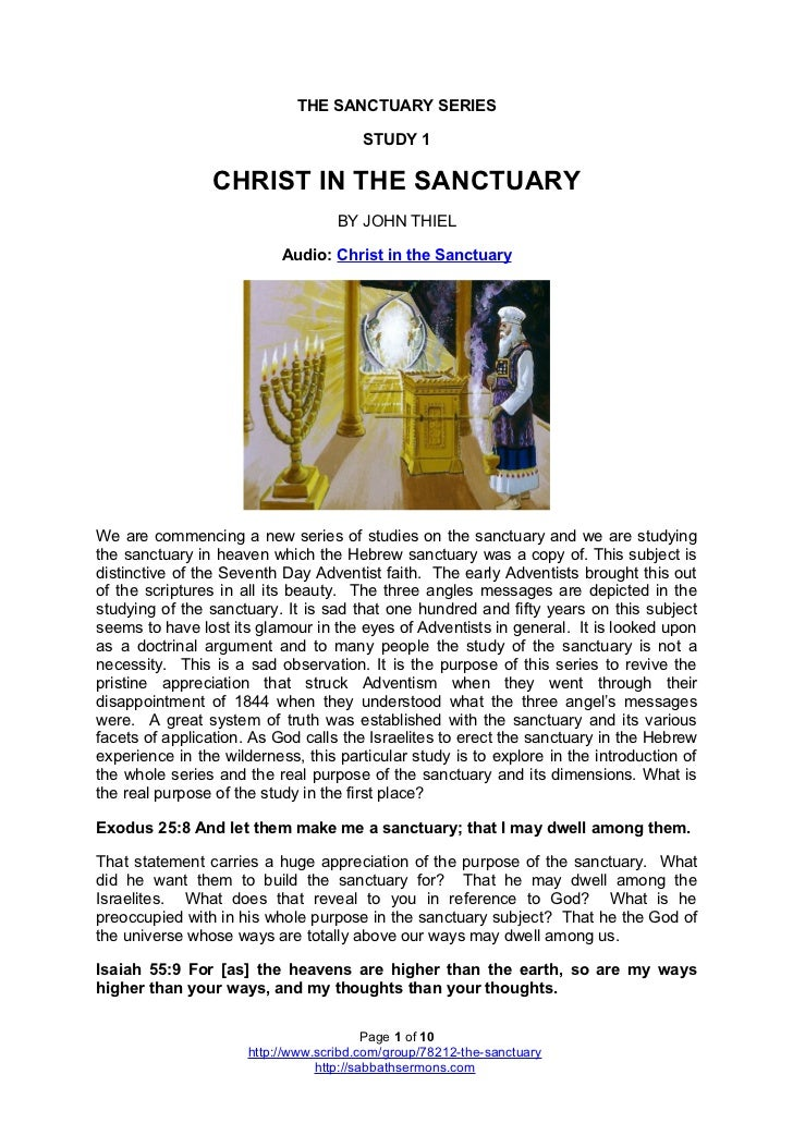 THE SANCTUARY SERIES                                        STUDY 1                 CHRIST IN THE SANCTUARY               ...