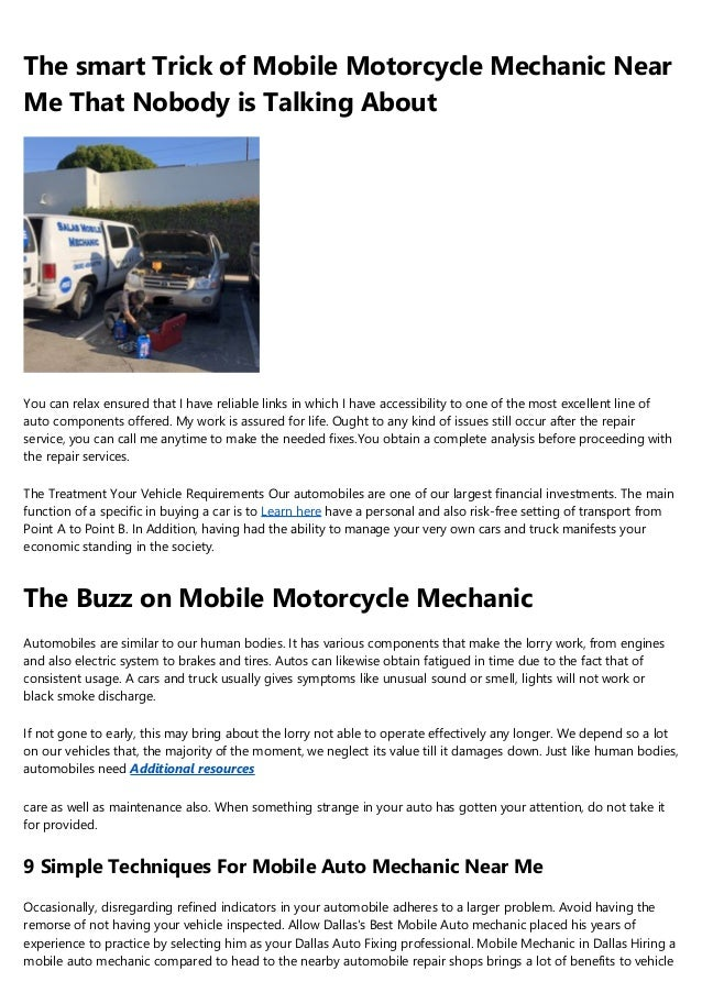 Cheap Car Mechanics Near Me >> What Not To Do In The Cheap Mobile Mechanic Industry