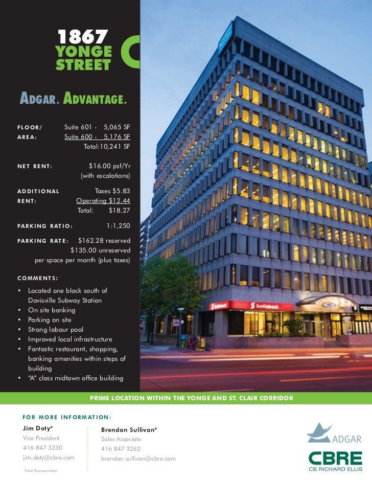 1867                       YONGE                       STREET ADGAR . ADVANTAGE .F LO O R /                  Suite 601 - 5...