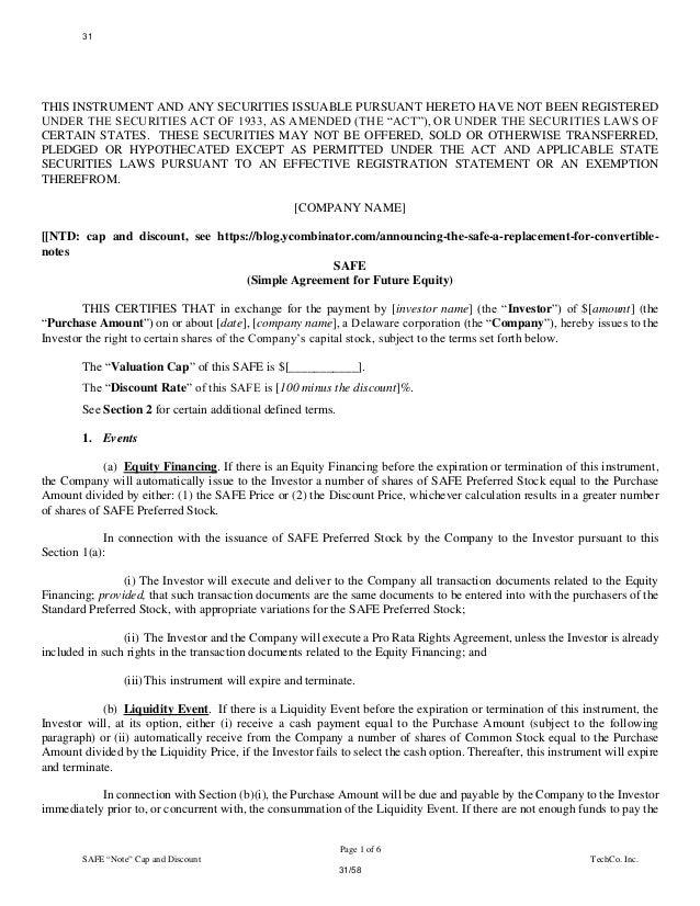 Simple Agreement For Future Equity Term Sheet Seatledavidjoel