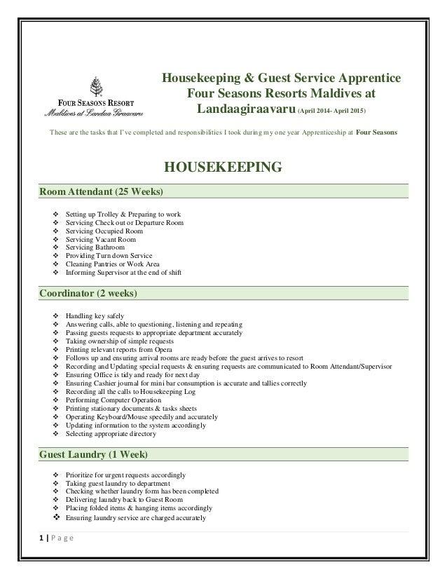 housekeeping experience