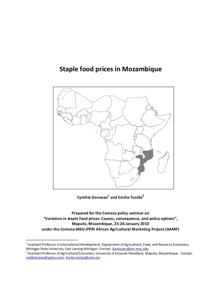 Staple food prices in Mozambique                                 Cynthia Donovan1 and Emilio Tostão2                      ...