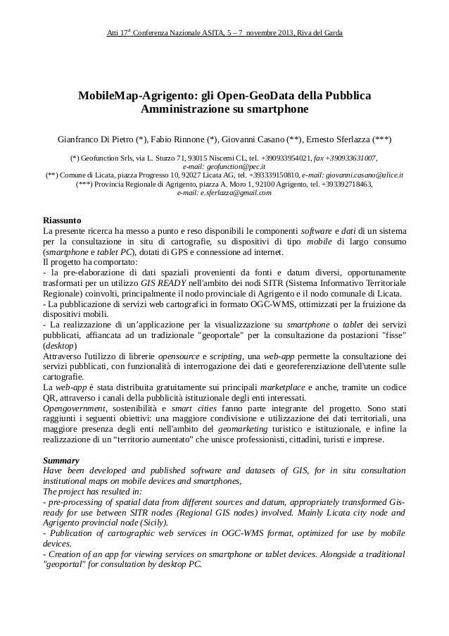 Atti 17a Conferenza Nazionale ASITA, 5 – 7 novembre 2013, Riva del Garda  MobileMap-Agrigento: gli Open-GeoData della Pubb...
