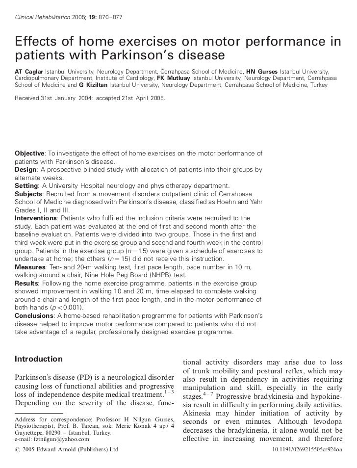 Clinical Rehabilitation 2005; 19: 870 Á/877Effects of home exercises on motor performance inpatients with Parkinson's dise...