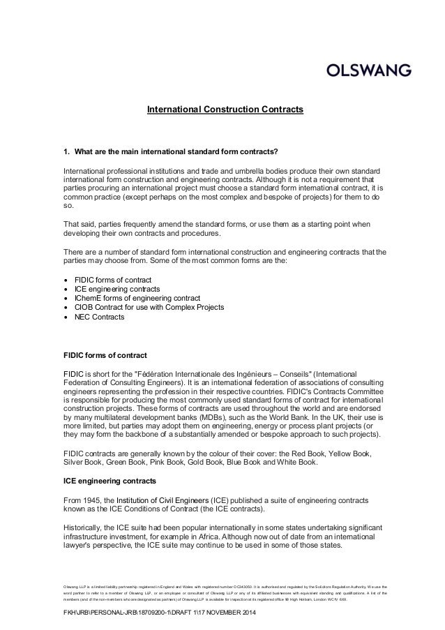 introductory note on international construction contracts