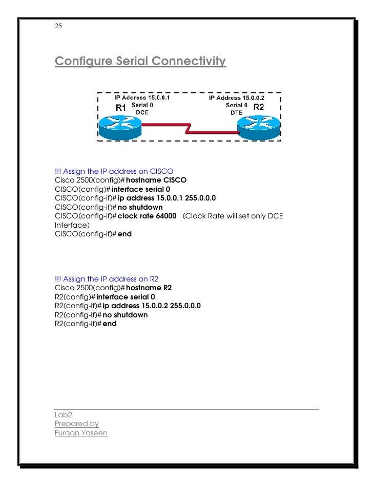 25Configure Serial Connectivity!!! Assign the IP address on CISCOCisco 2500(config)# hostname CISCOCISCO(config)# interfac...
