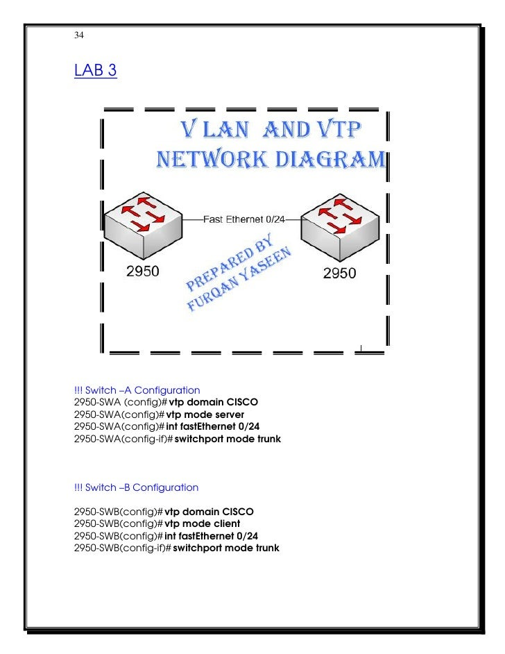 34LAB 3!!! Switch –A Configuration2950-SWA (config)# vtp domain CISCO2950-SWA(config)# vtp mode server2950-SWA(config)# in...
