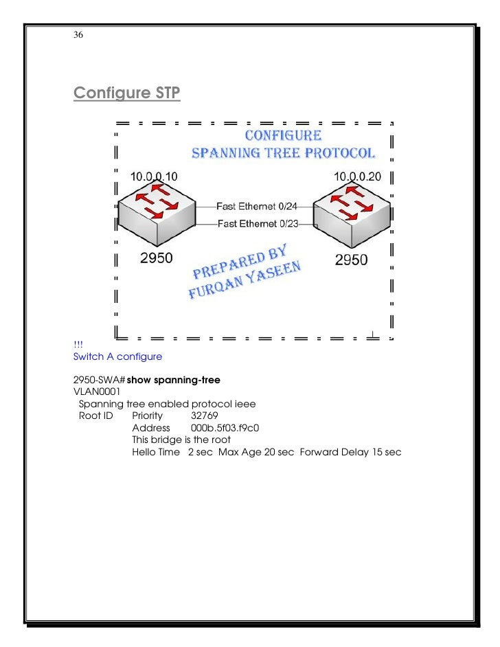 36Configure STP!!!Switch A configure2950-SWA# show spanning-treeVLAN0001 Spanning tree enabled protocol ieee Root ID    Pr...