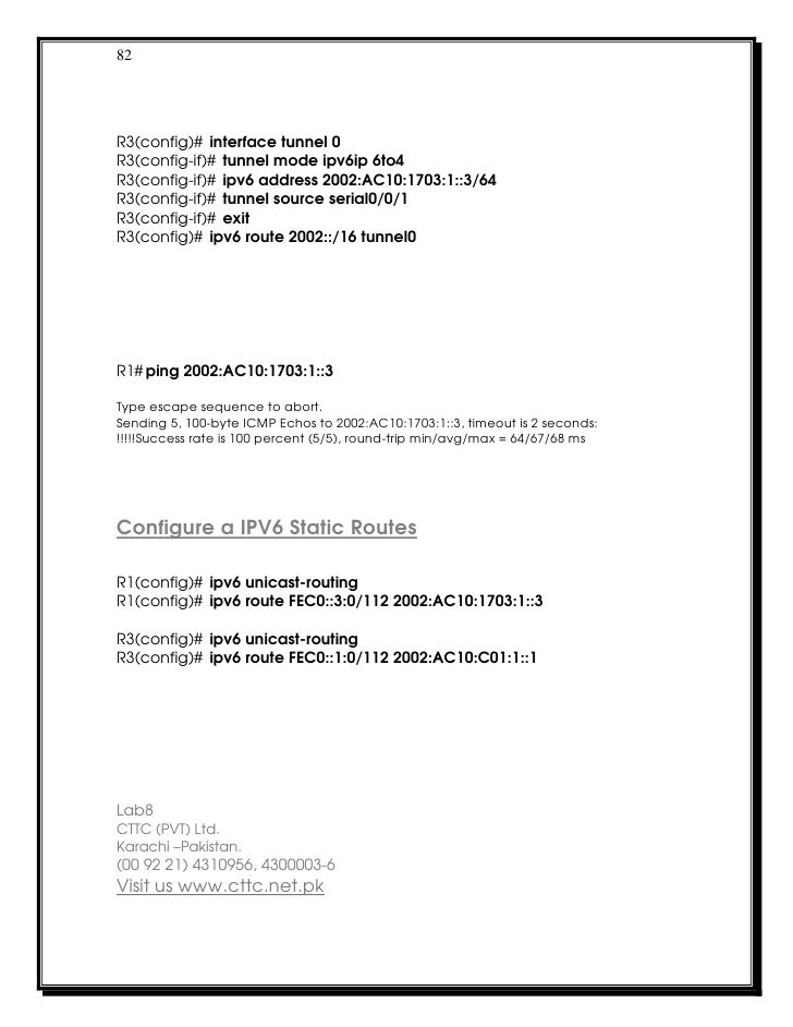 82R3(config)# interface tunnel 0R3(config-if)# tunnel mode ipv6ip 6to4R3(config-if)# ipv6 address 2002:AC10:1703:1::3/64R3...