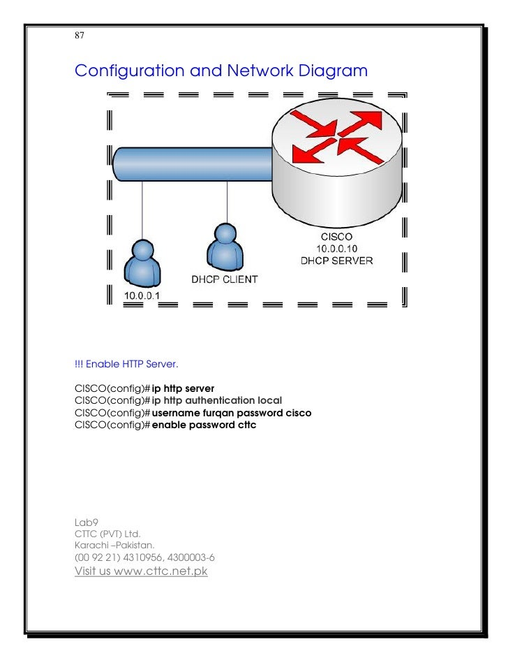 87Configuration and Network Diagram!!! Enable HTTP Server.CISCO(config)# ip http serverCISCO(config)# ip http authenticati...