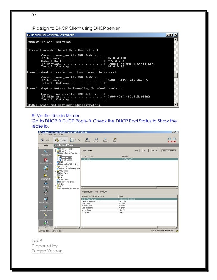 92IP assign to DHCP Client using DHCP Server!!! Verification in RouterGo to DHCP DHCP Pools-       Check the DHCP Pool Sta...