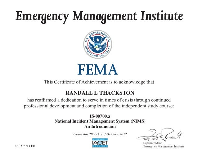 management nims incident national certification system slideshare certificate 700 upcoming emergency achievement
