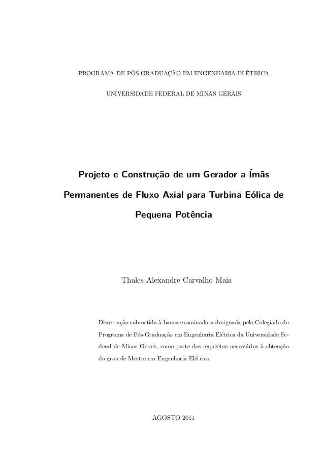 PROGRAMA DE PÓS-GRADUAÇÃO EM ENGENHARIA ELÉTRICA UNIVERSIDADE FEDERAL DE MINAS GERAIS Projeto e Construção de um Gerador a...