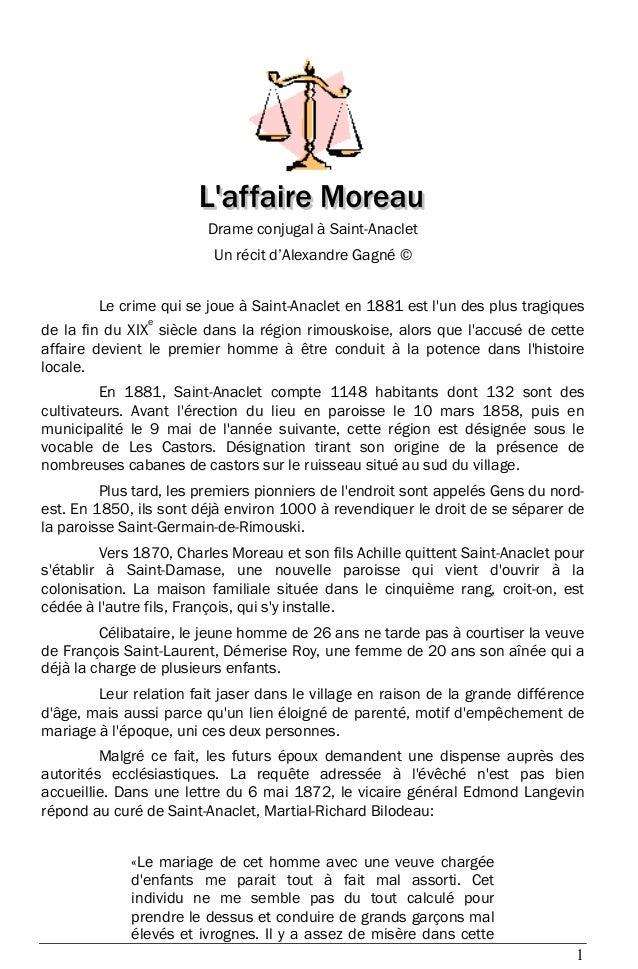 1 Drame conjugal à Saint-Anaclet Un récit d'Alexandre Gagné © Le crime qui se joue à Saint-Anaclet en 1881 est l'un des pl...