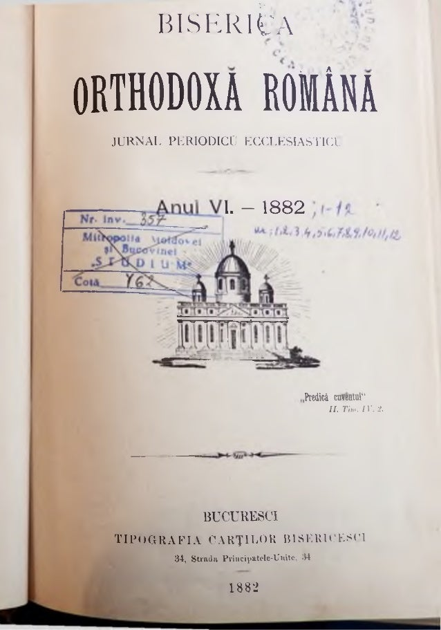 """TA B E LA de Materiile ce să cuprindă în jurnalul """"Biserica Orthodoxă. R om âni"""" pe anul al Yl-lea al editaret 1882. I . ...."""