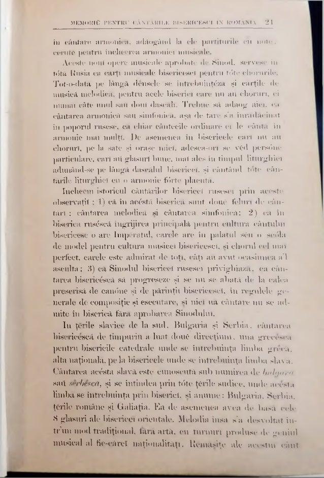 MEMORIU PENTRU CANTABILE BISERICESCI IN ROMANIA 2.» mai continuri. si astă-dî în Bucovina, în biHcricilc creştinilor ruten...
