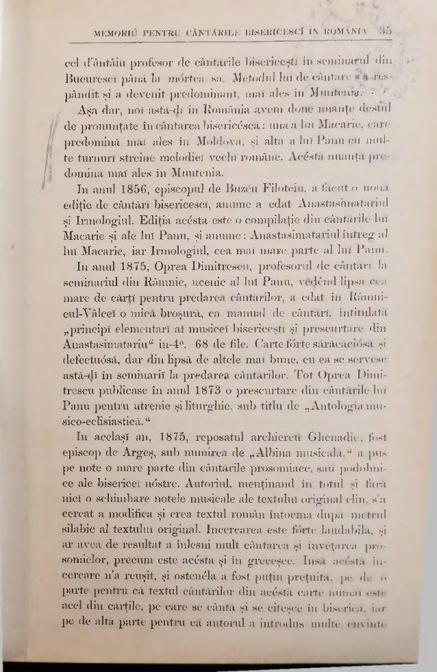 MEMORltf PENTRU CÂNTĂRILE BISERICESCI ÎN ROMAXM -»7 prea venerabilul protopresbiter Sanmil Andrievicî Morariu, actualul mi...