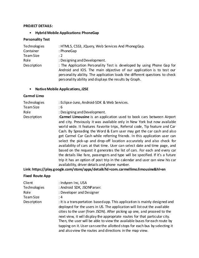 Android Application Developer Resume. web developer resume samples ...