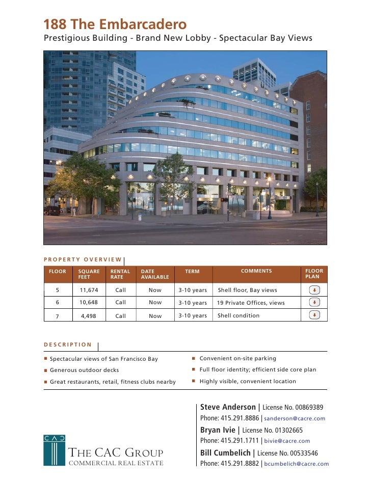 188 The Embarcadero Prestigious Building - Brand New Lobby - Spectacular Bay Views     PROPERTY OVERVIEW   FLOOR     SQUAR...