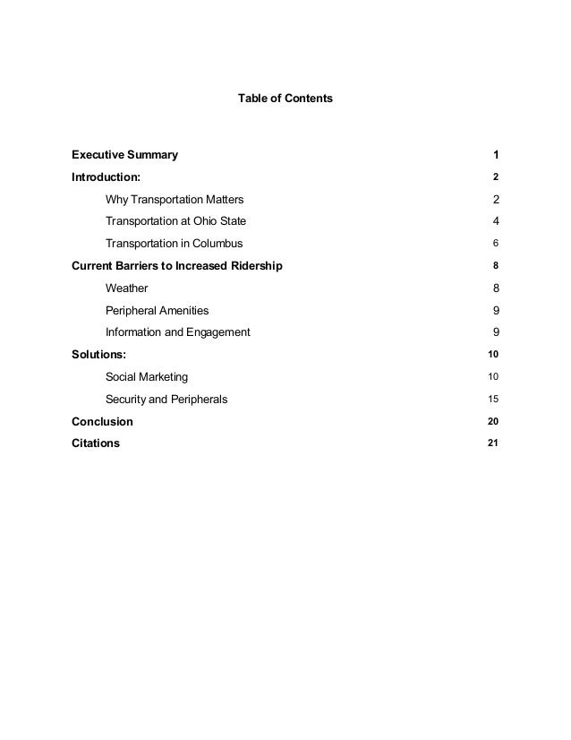 Table of Contents Executive Summary 1 Introduction: 2 Why Transportation Matters 2 Transportation at Ohio State 4 Transpor...