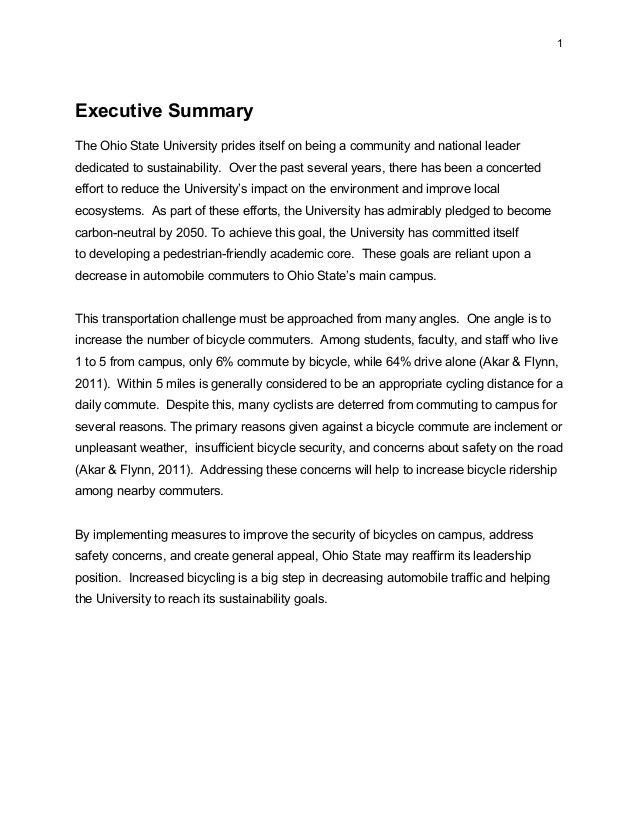 1 Executive Summary The Ohio State University prides itself on being a community and national leader dedicated to sustaina...