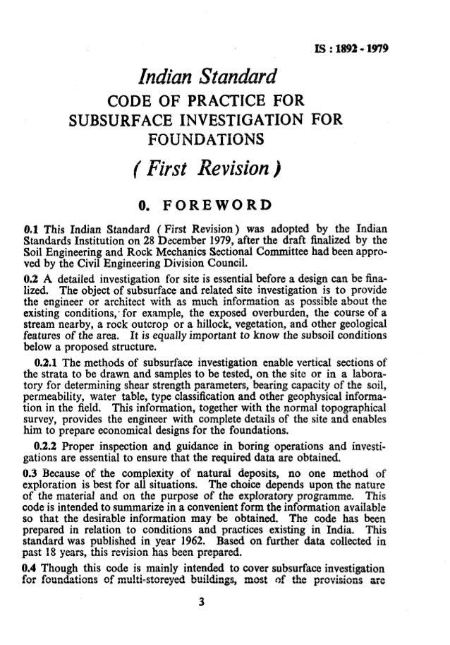 1892 soil investigation for foundations for Soil investigation report