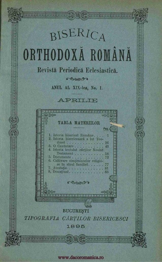 +++Att. +4. +41,4,A3114AT. BIsERicA ORTHODOXA ROMANA Revista Periodic Eclesiastica. ANUL AL XIX-lea, No. 1. I I: APRILIE w...