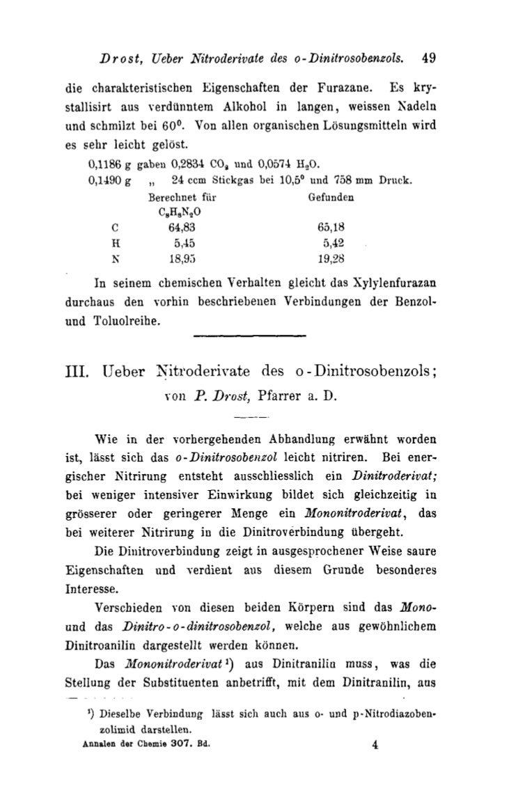 D r o s t, Ueber Nitroderivale des o - Dinitrosobenzols.           49die charakteristischen Eigenschaften der Furazane. Es...