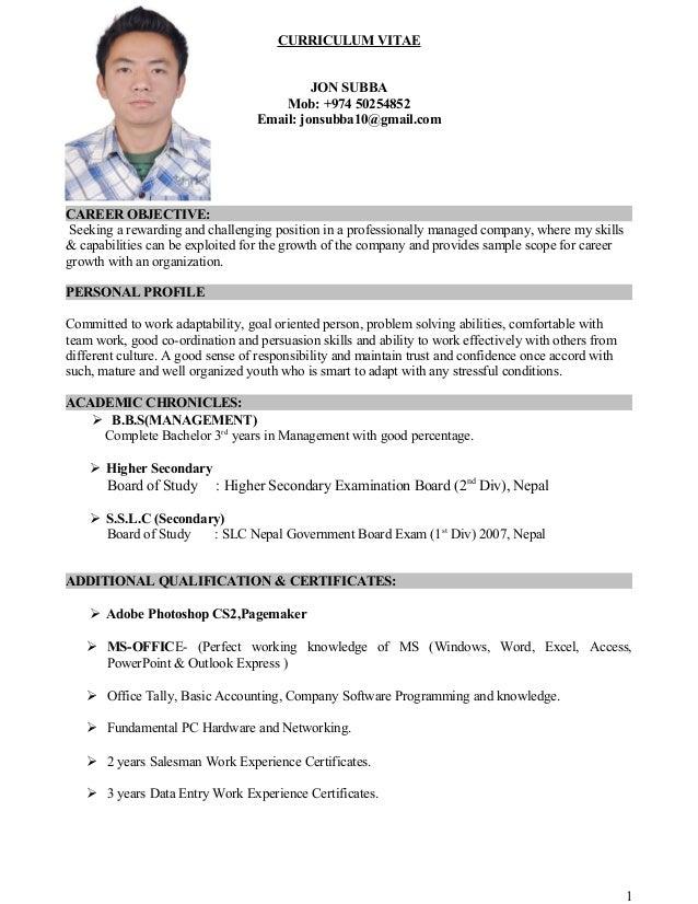 CURRICULUM VITAE JON SUBBA Mob: +974 50254852 Email: jonsubba10@gmail.com CAREER OBJECTIVE: Seeking a rewarding and challe...