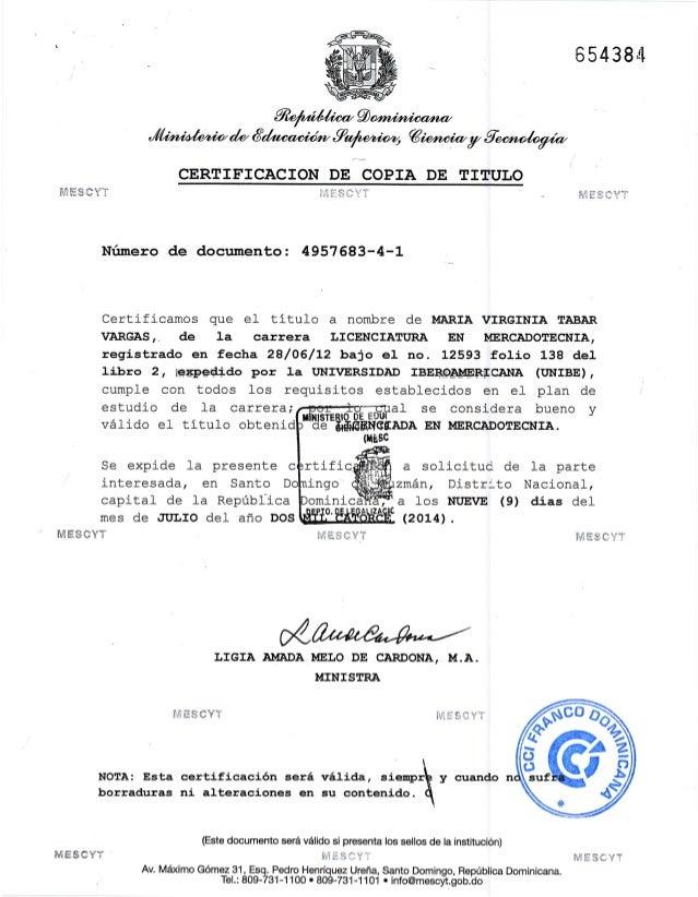 copia y certificacion de titulo maria v  tabar