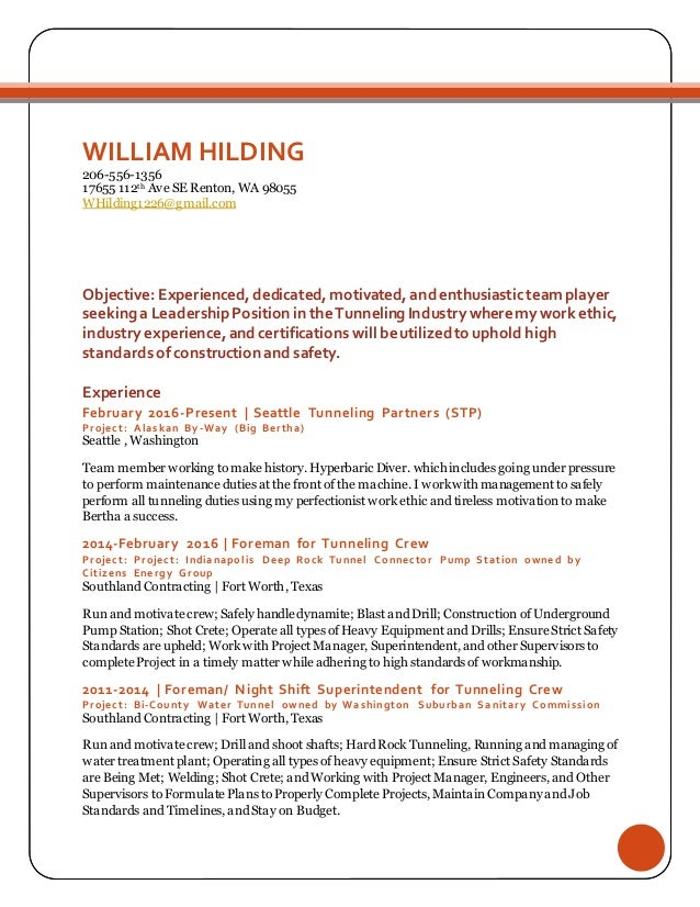 WILLIAM HILDING RESUME