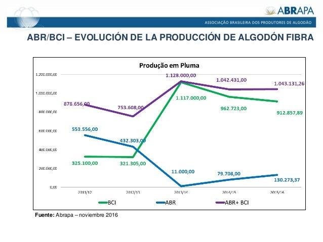 ABR/BCI – EVOLUCIÓN DE LA PRODUCCIÓN DE ALGODÓN FIBRA Fuente: Abrapa – noviembre 2016