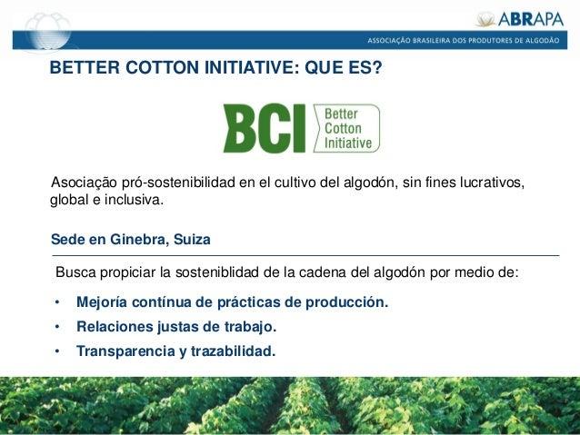 BETTER COTTON INITIATIVE: QUE ES? Asociação pró-sostenibilidad en el cultivo del algodón, sin fines lucrativos, global e i...
