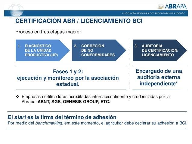 CERTIFICACIÓN ABR / LICENCIAMIENTO BCI Proceso en tres etapas macro: 1. DIAGNÓSTICO DE LA UNIDAD PRODUCTIVA (UP) 2. CORREC...