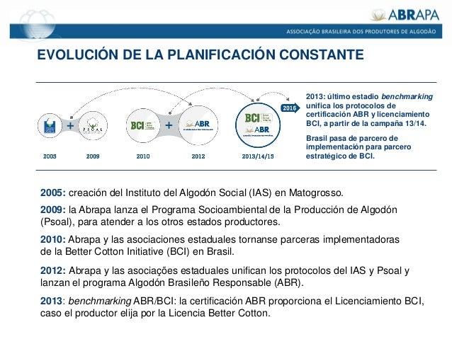 EVOLUCIÓN DE LA PLANIFICACIÓN CONSTANTE 2005: creación del Instituto del Algodón Social (IAS) en Matogrosso. 2009: la Abra...