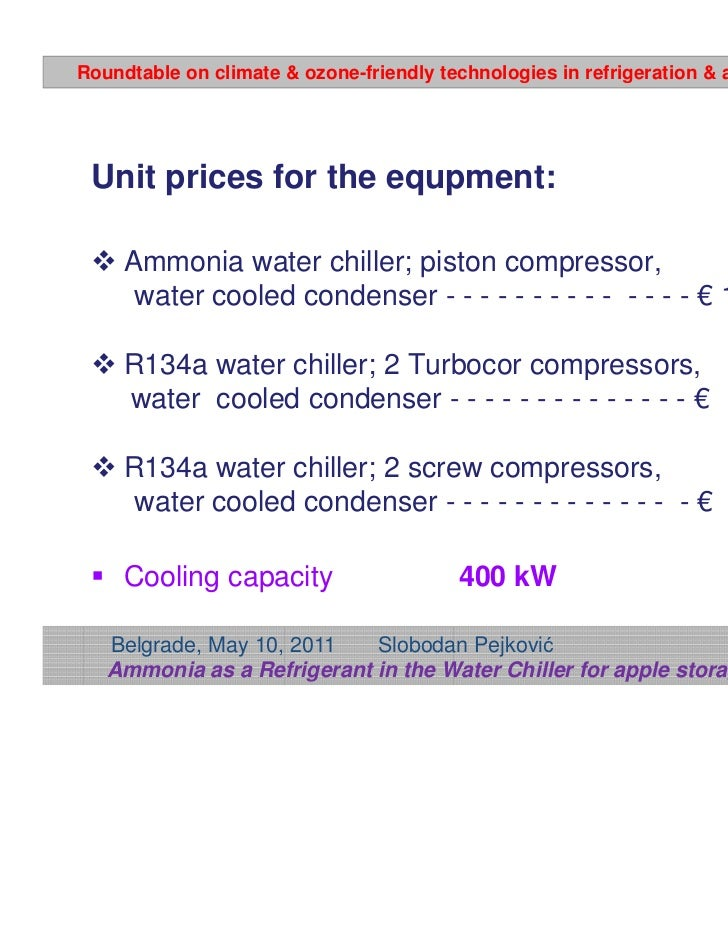 Ammonia As A Refrigerant In The Water Chiller For Apple