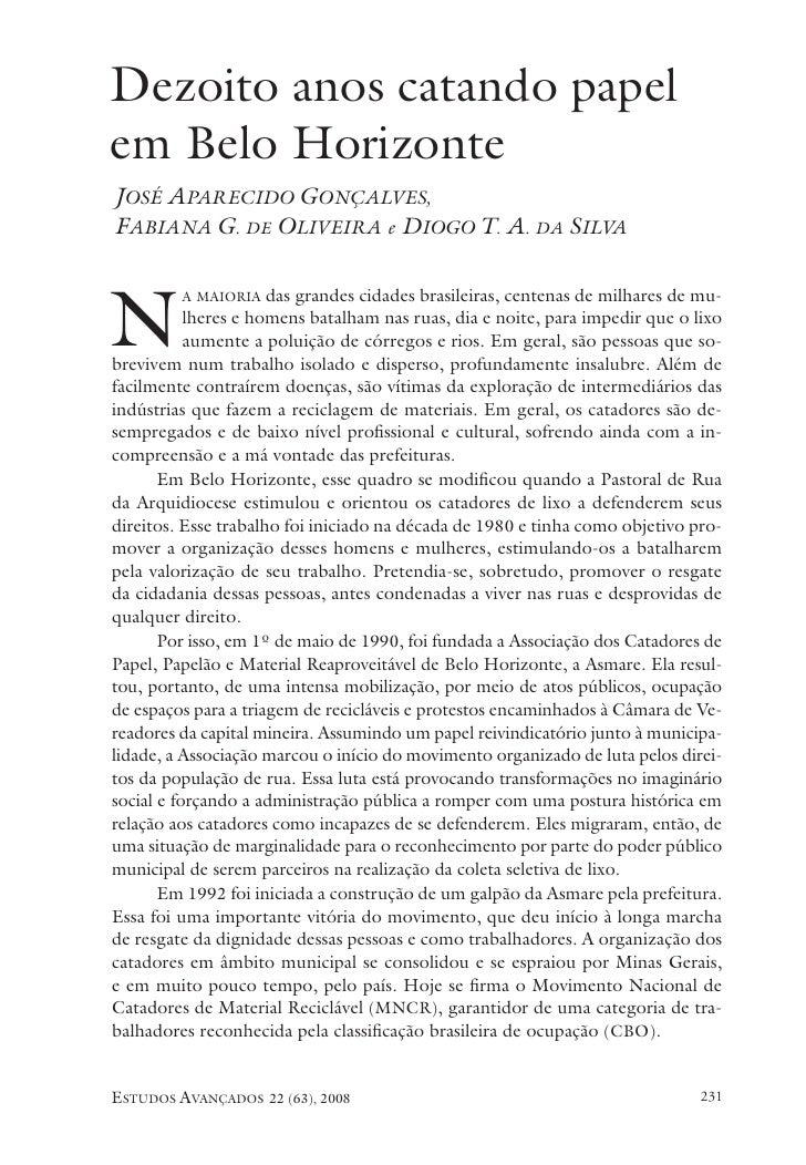 Dezoito anos catando papelem Belo HorizonteJosé Aparecido Gonçalves,Fabiana G. de Oliveira e Diogo T. A. da SilvaN        ...