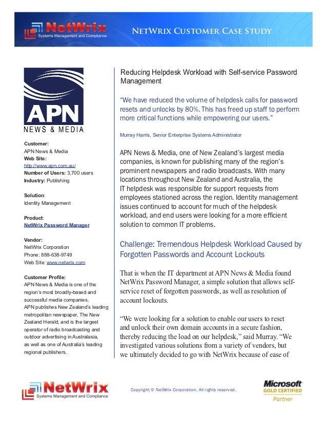 NetWrix Customer Case Study                                        Reducing Helpdesk Workload with Self-service Password  ...
