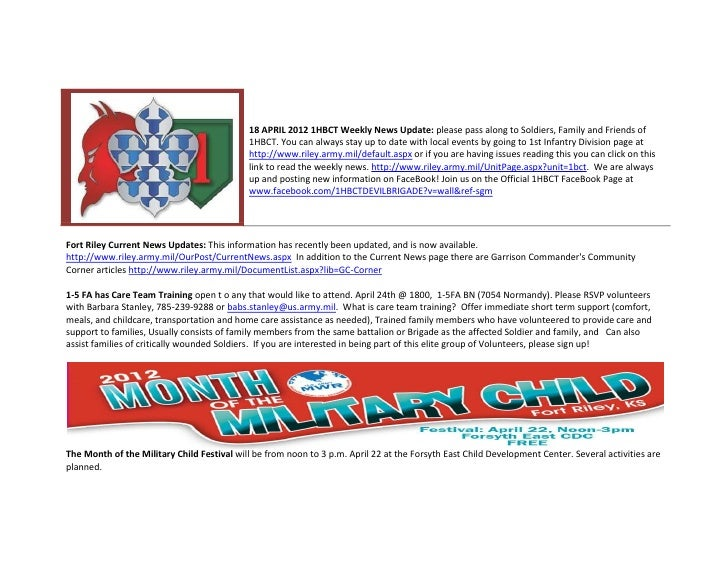 18 APRIL 2012 1HBCT Weekly News Update: please pass along to Soldiers, Family and Friends of                              ...
