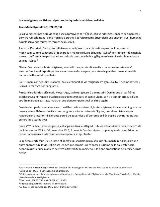 1 La vie religieuse enAfrique,signe prophétique de lamiséricorde divine Jean-Marie Hyacinthe QUENUM,1 SJ Les diversesforme...